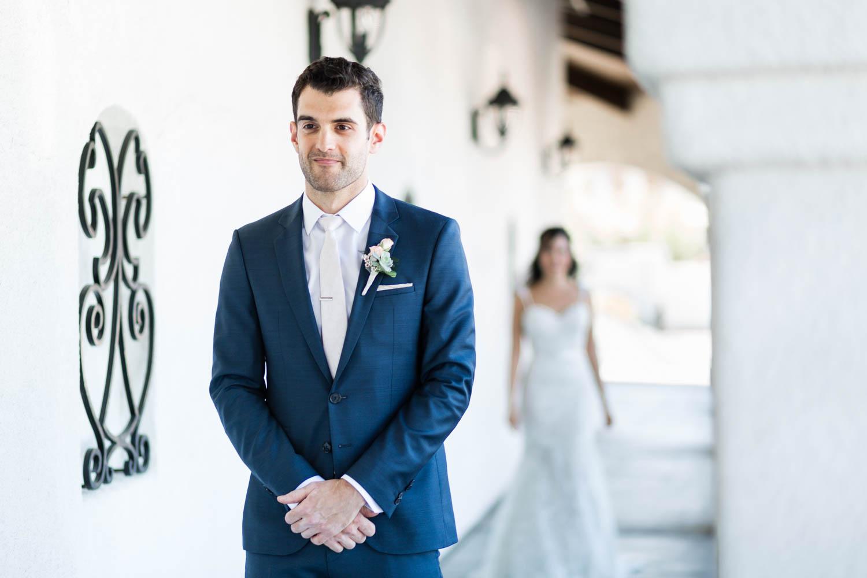 Wedding first look at Omni Rancho Las Palmas in Rancho Mirage, Cavin Elizabeth Photography