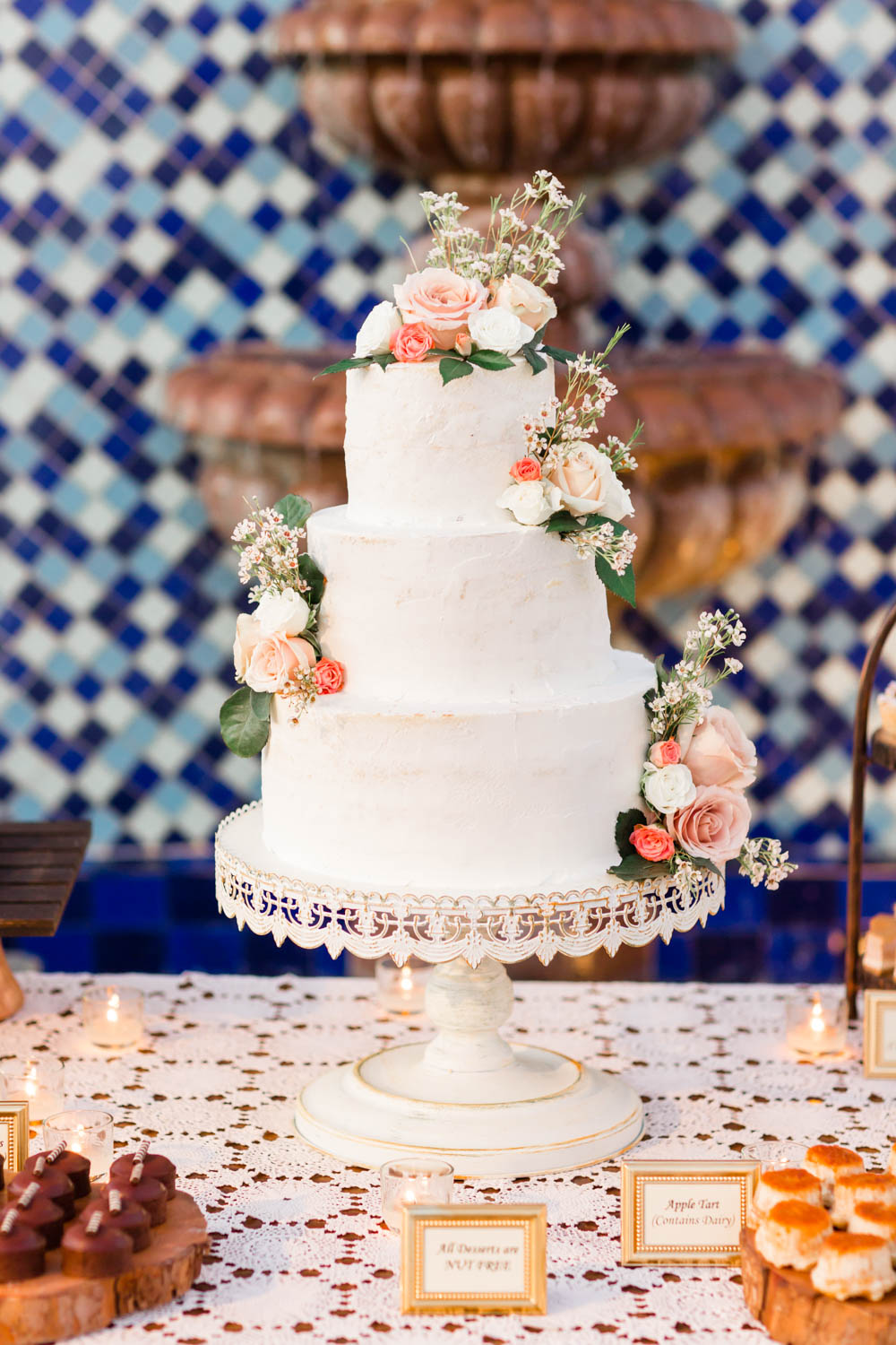 Wedding reception wedding cake with blush green white at the Omni Rancho Las Palmas in Rancho Mirage Palm Springs, Cavin Elizabeth Photography