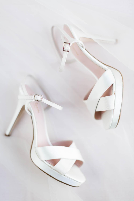 Bridal details white Kate Spade sandal heel shoes, gorgeous wedding flatlay at Omni Rancho LAs Palmas wedding, Cavin Elizabeth