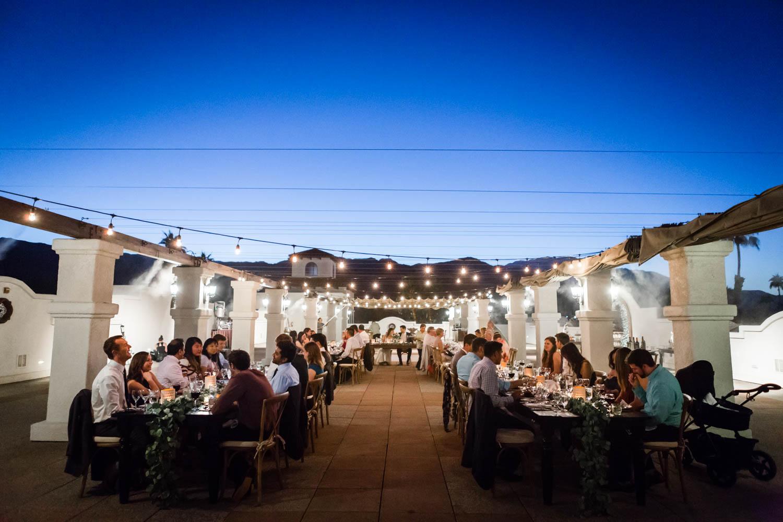 Wedding reception with market lights at the Omni Rancho Las Palmas, Cavin Elizabeth Photography