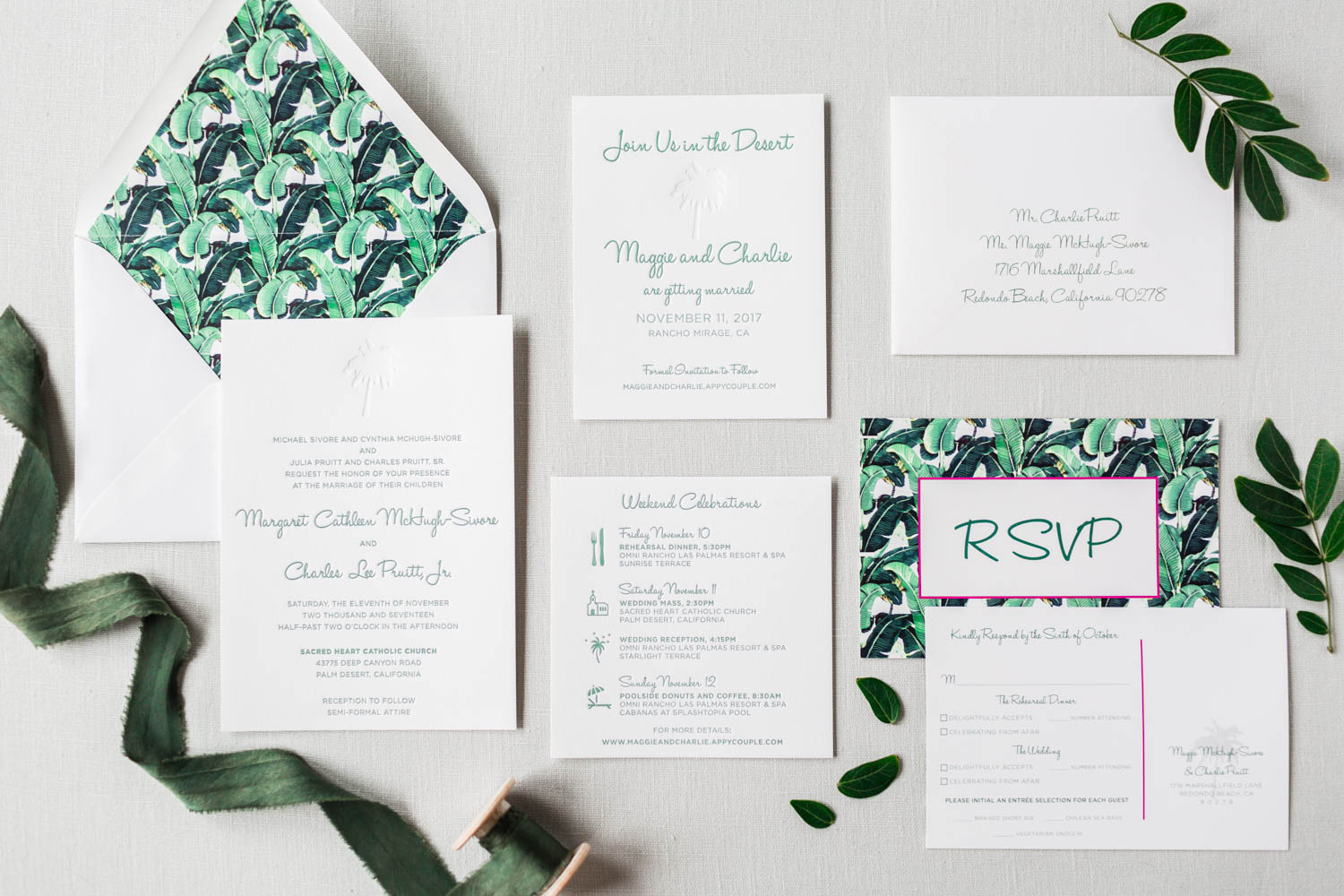Copper Willow white letterpress wedding invitation suite with green ink, Vibrant Winter Wedding at Omni Rancho Las Palmas, Cavin Elizabeth Photography