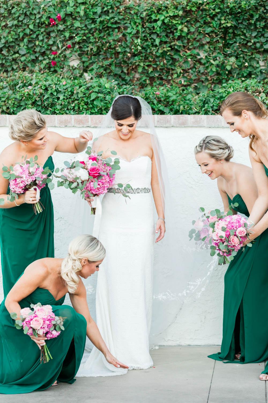 Teal bridesmaid gowns, Bridesmaid portrait at Omni Rancho Las Palmas, Cavin Elizabeth Photography