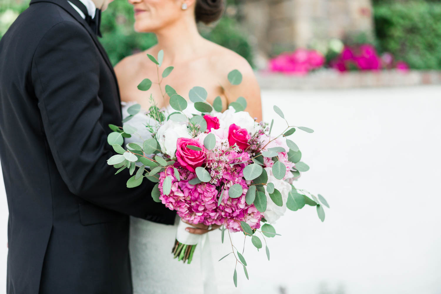 Bride holding purple pink green and white bouquet, Cavin Elizabeth Photography