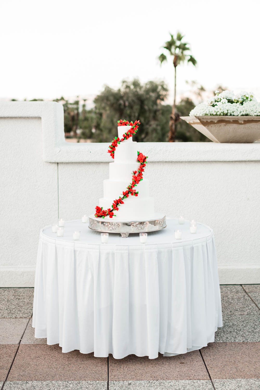 White five tier wedding cake at the Omni Rancho Las Palmas, Cavin Elizabeth Photography