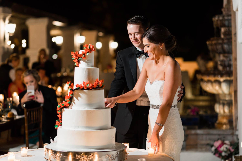Cake cutting at Omni Rancho Las Palmas wedding, Cavin Elizabeth Photography