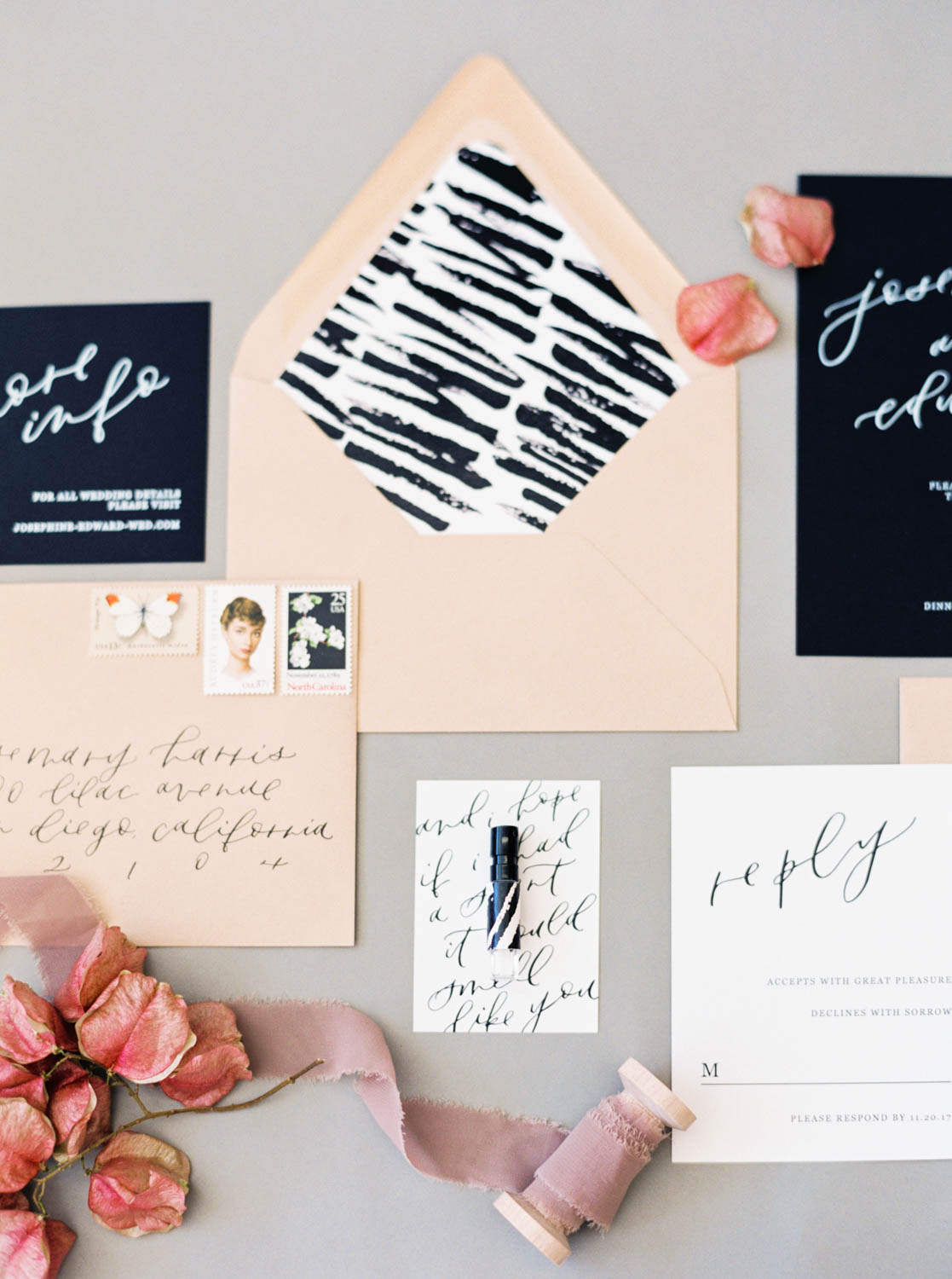 Twinkle and Toast neutral and gray and black wedding invitation suite with Mrs Box, Cavin Elizabeth Photography and Amorology