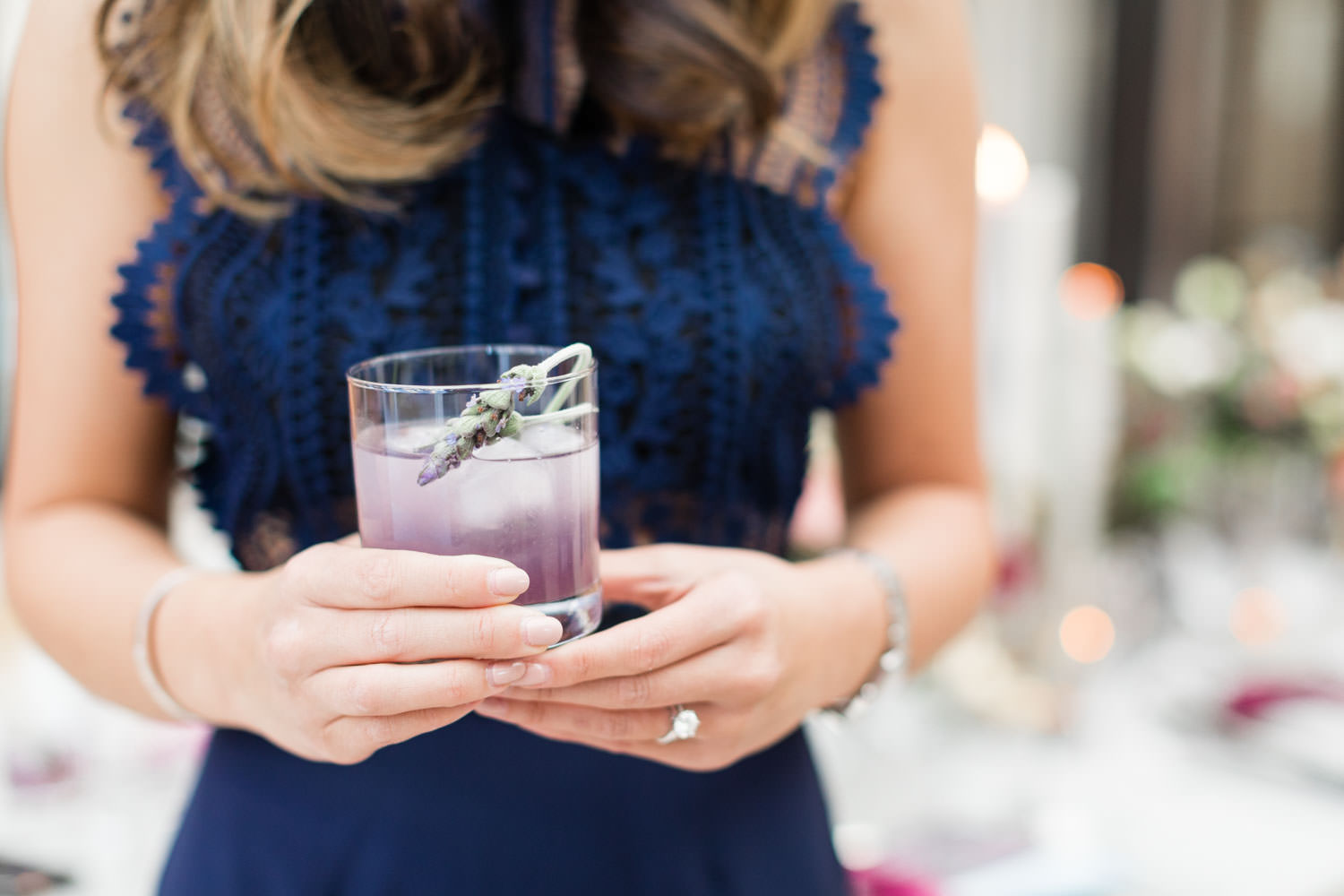 Lavender cocktail, Navy and magenta Details Details Holiday Party at Twenty Eight OC, Cavin Elizabeth Photography