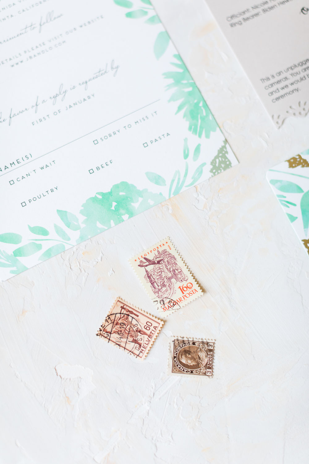 Vintage tan and gold stamps for teal and white watercolor invitations from Minted, Cavin Elizabeth Photography