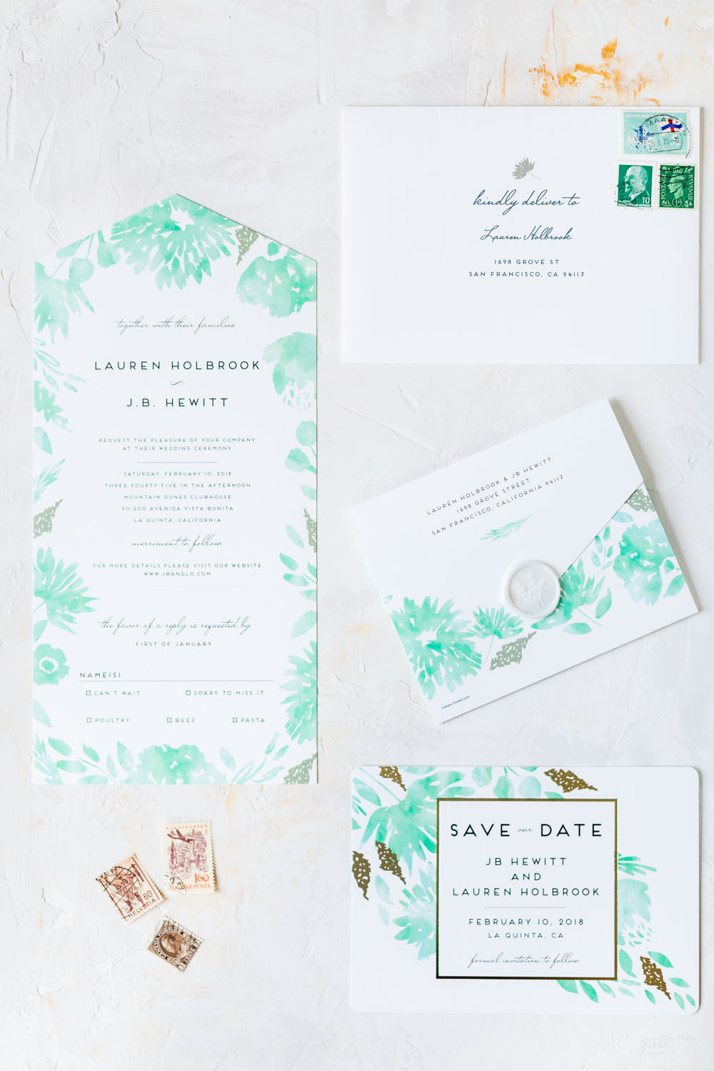 Teal and white watercolor invitations from Minted with gold foil, La Quinta Resort Wedding in Palm Springs, Cavin Elizabeth Photography