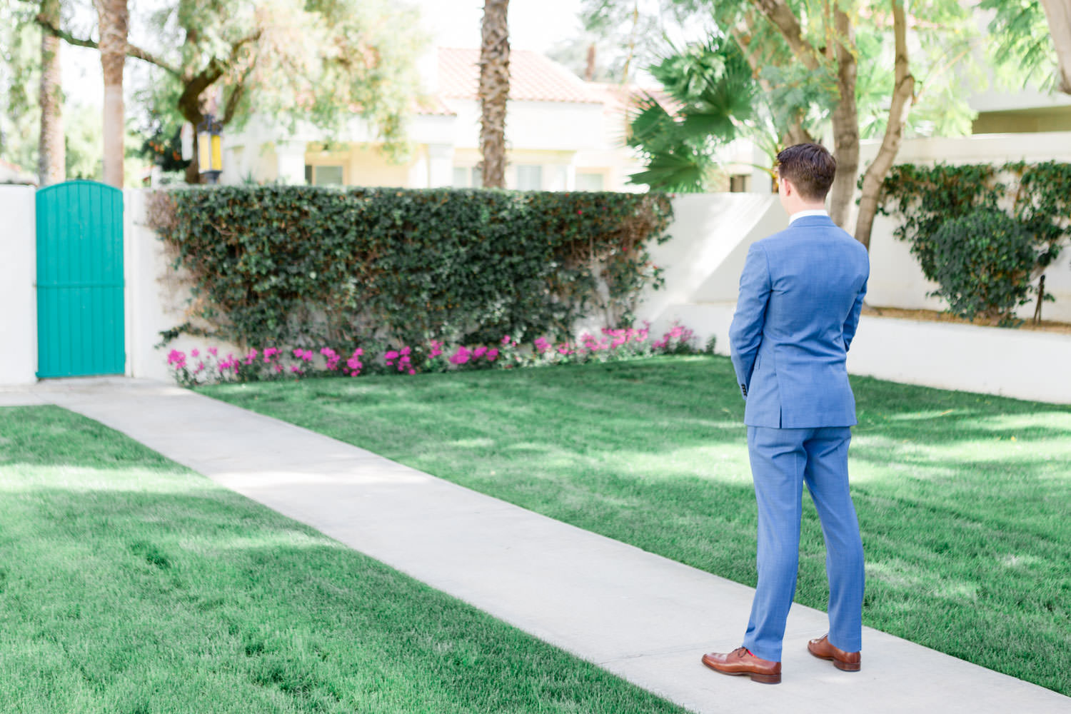 Groom waiting on first look, La Quinta Resort Wedding in Palm Springs, Cavin Elizabeth Photography