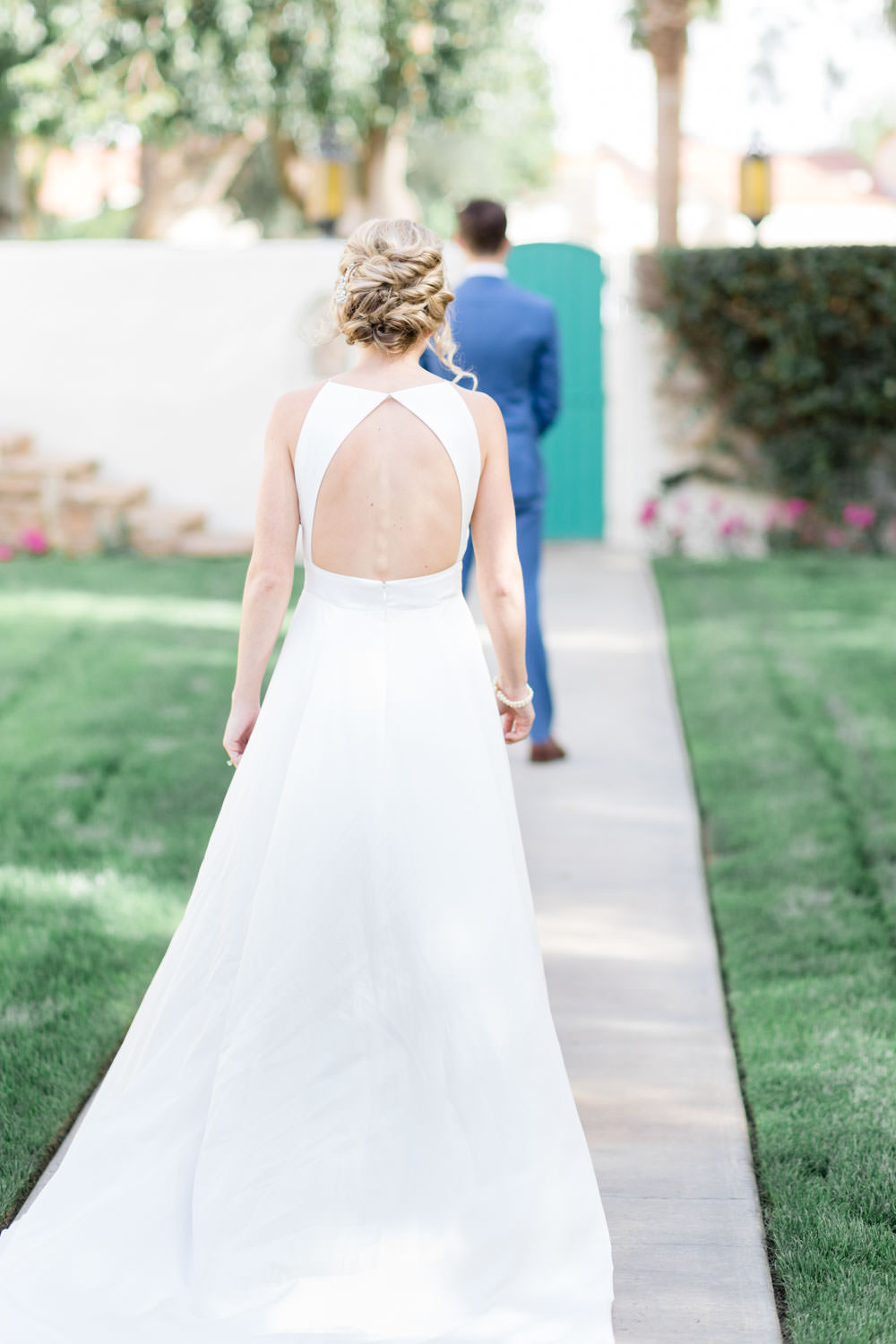 Bride walking toward groom for first look, La Quinta Resort Wedding in Palm Springs, Cavin Elizabeth Photography