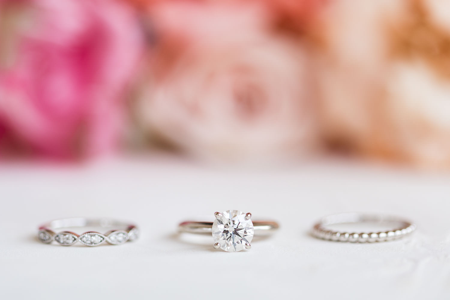 Wedding bands, engagement diamond solitaire ring with two bride wedding bands, La Quinta Resort Wedding in Palm Springs, Cavin Elizabeth Photography