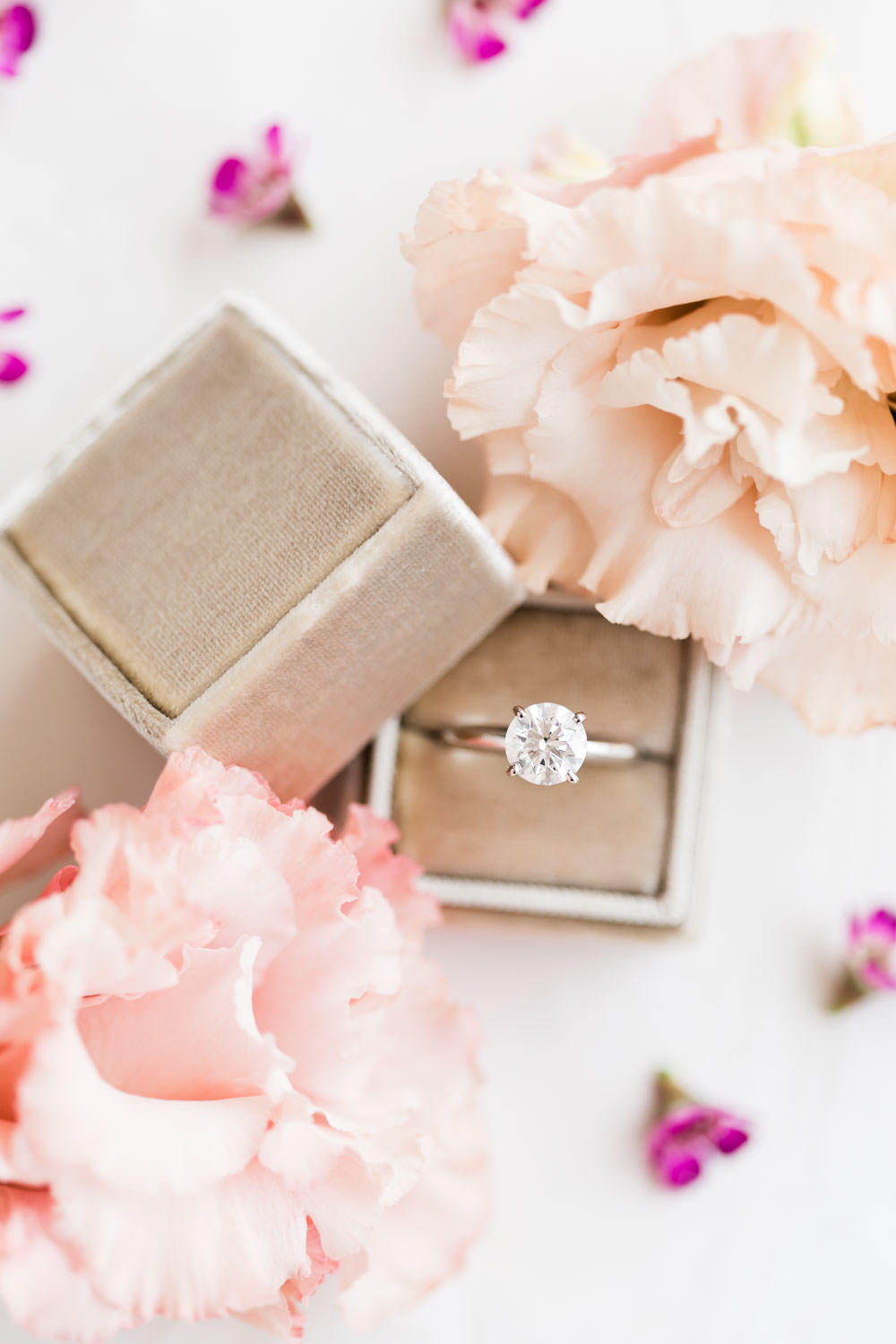 Diamond solitaire engagement ring in gold taupe Mrs box, La Quinta Resort Wedding in Palm Springs, Cavin Elizabeth Photography