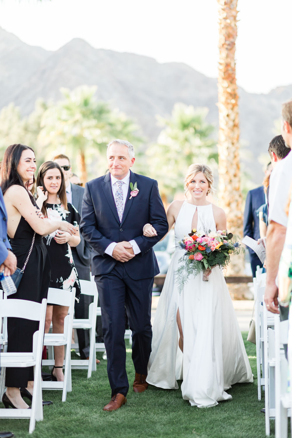 Bride and father walking down the aisle, La Quinta Resort wedding ceremony, Cavin Elizabeth Photography