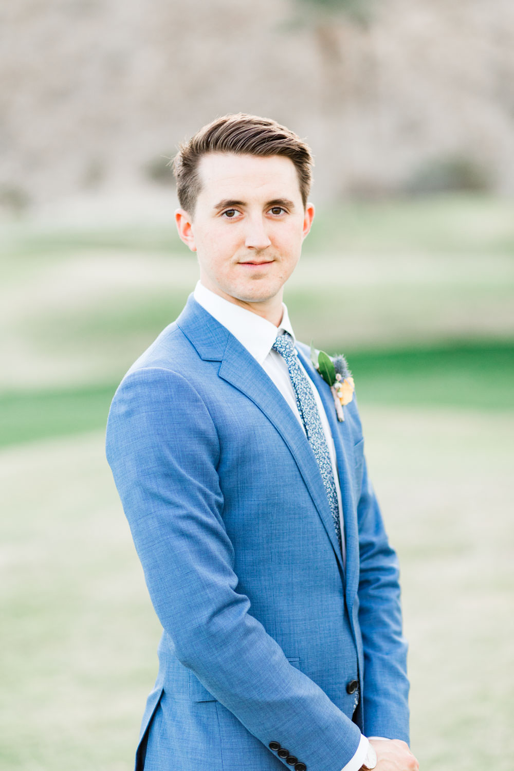 Groom in a blue suit at La Quinta Resort in Palm Springs, Cavin Elizabeth Photography