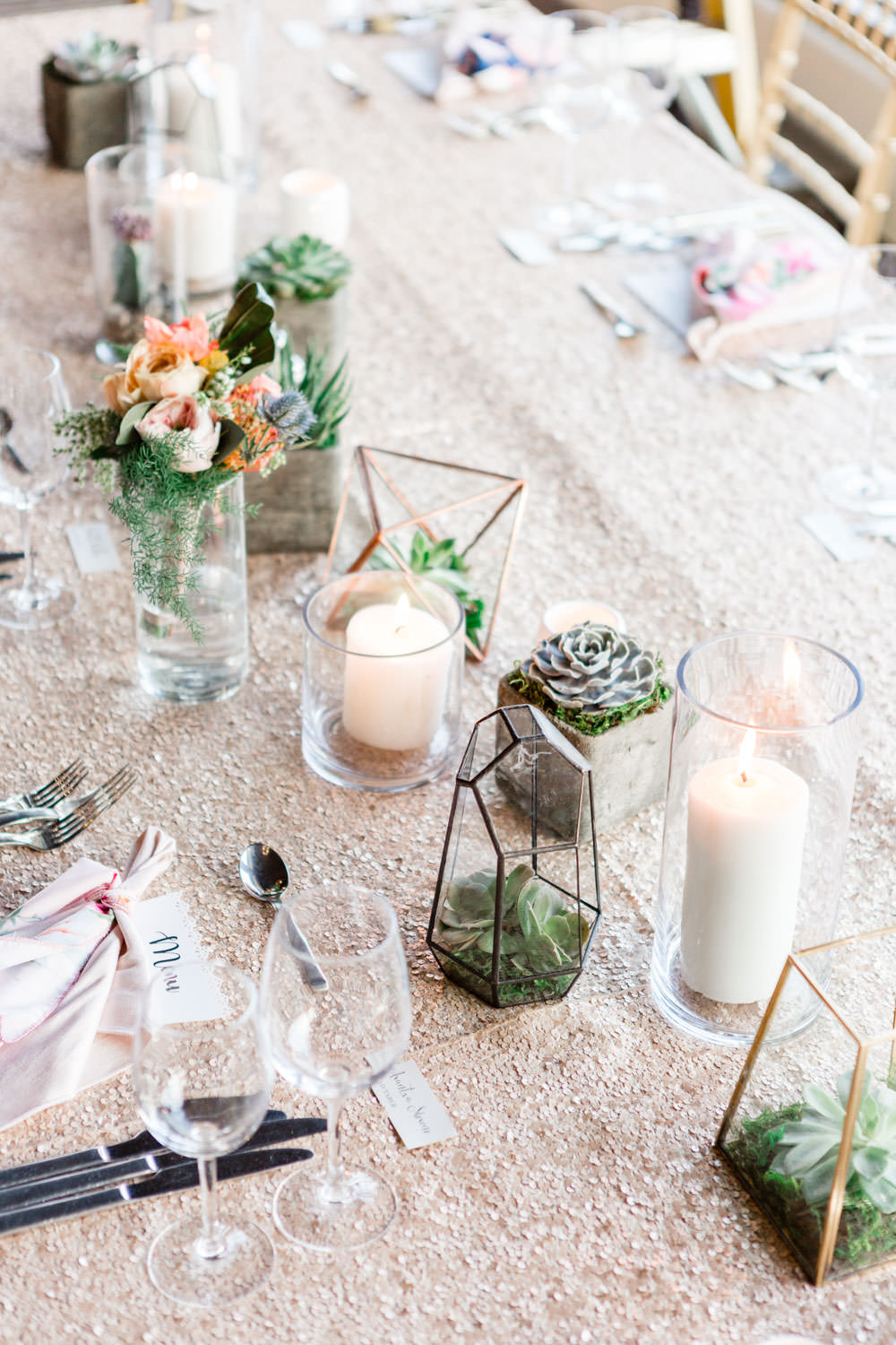 Rose gold sequin table linen with succulents and candles for Palm Springs wedding at La Quinta Resort, Cavin Elizabeth Photography