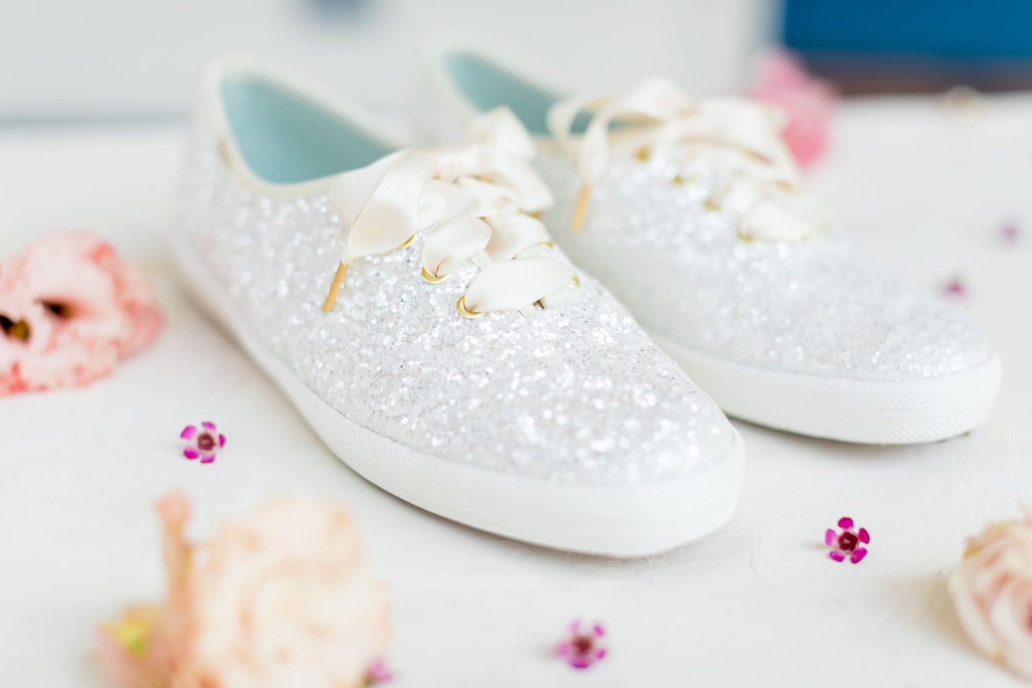 White bridal glitter Keds by Kate Spade styled with flowers, La Quinta Resort Wedding in Palm Springs, Cavin Elizabeth Photography