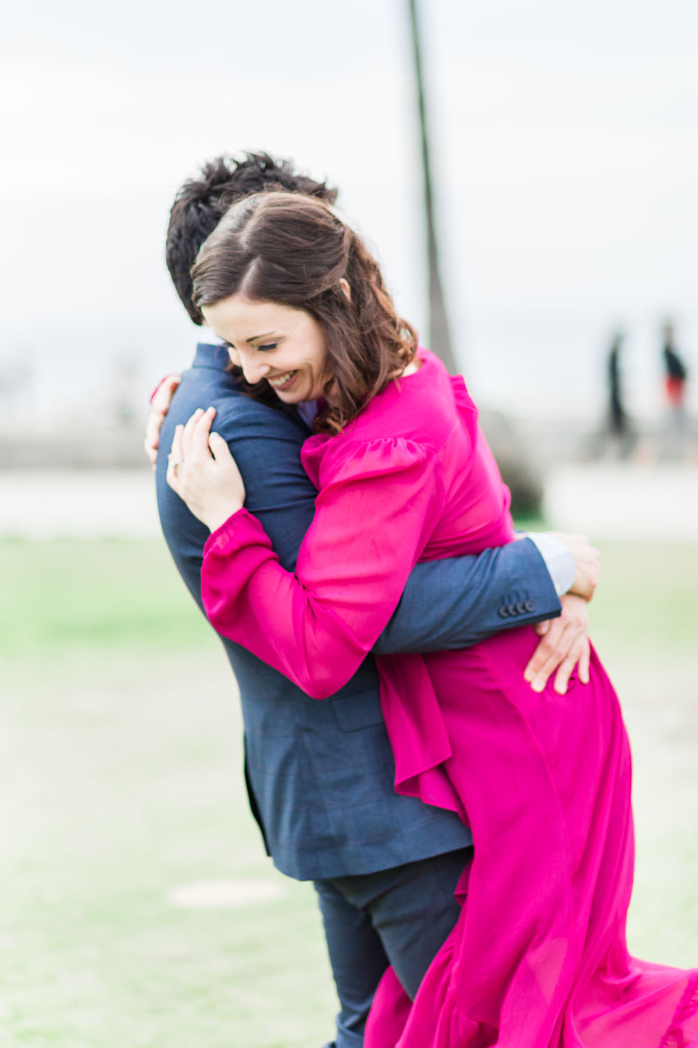 La Jolla Shores Engagement Photos with a magenta dress and blue suit, Cavin Elizabeth Photography