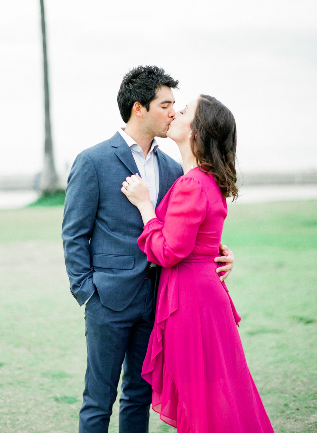 San Diego film photography, La Jolla Shores Engagement Photos with a magenta dress and blue suit, Cavin Elizabeth Photography