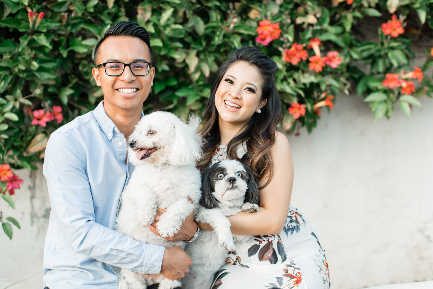 Adorable dogs in an engagement session photos outside of the Mission San Juan Capistrano, Cavin Elizabeth Photography