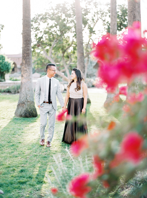 Engagement photo on film at the Mission San Juan Capistrano, Cavin Elizabeth Photography