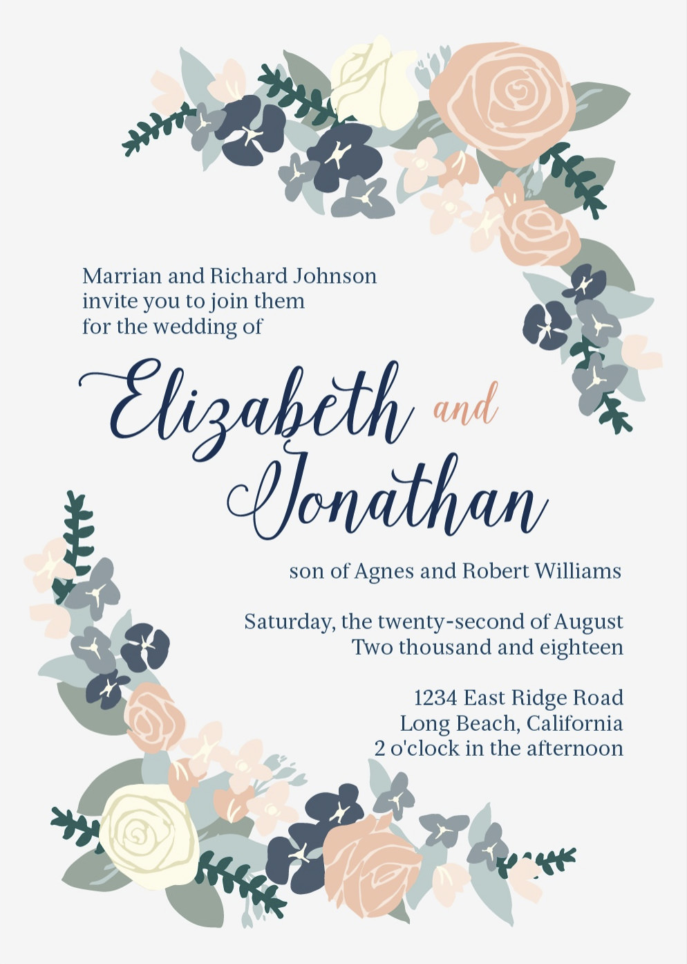 Basic Invite Wedding Invitation with floral pattern