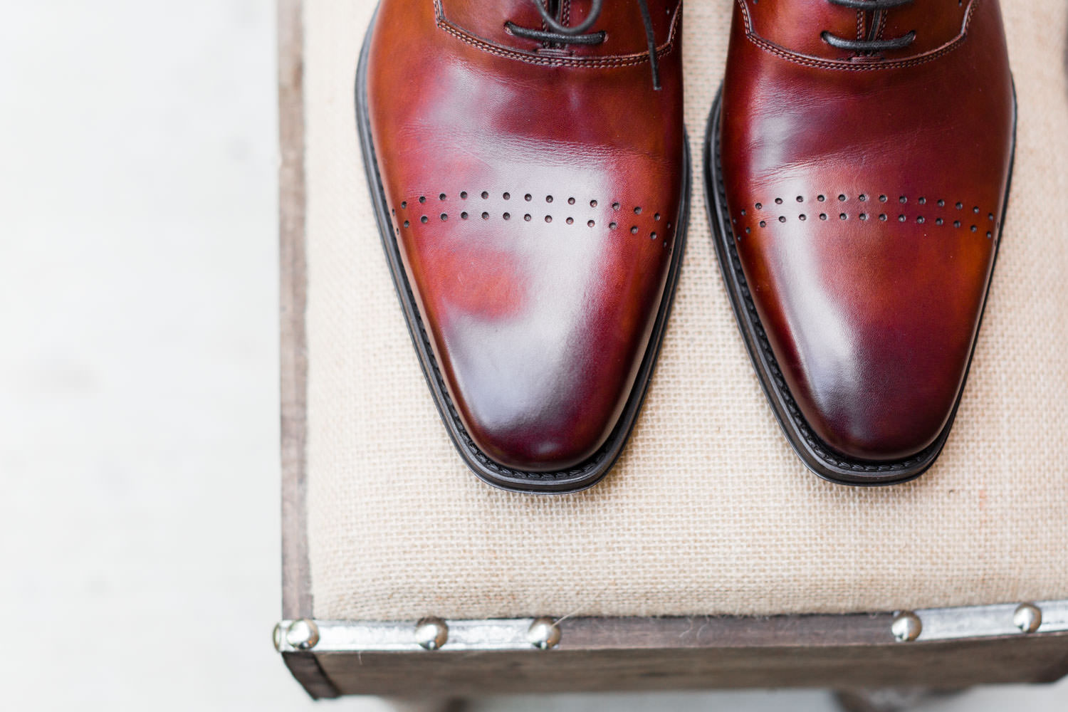 Groom's red brown leather shoes, Cavin Elizabeth Photography
