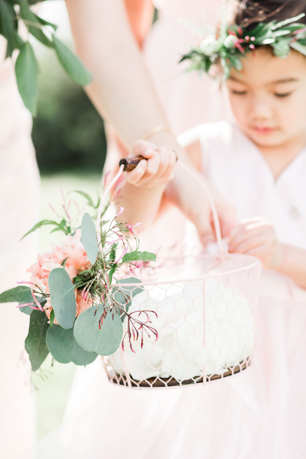 Flower girl basket with petals and eucalyptus, Cavin Elizabeth Photography