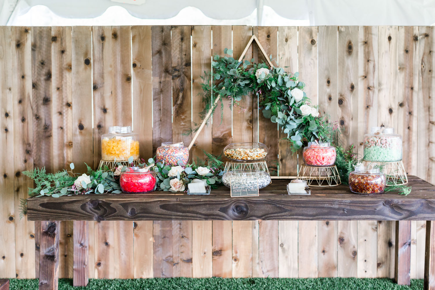 Candy station table with greenery runner and gold stands, Cavin Elizabeth Photography