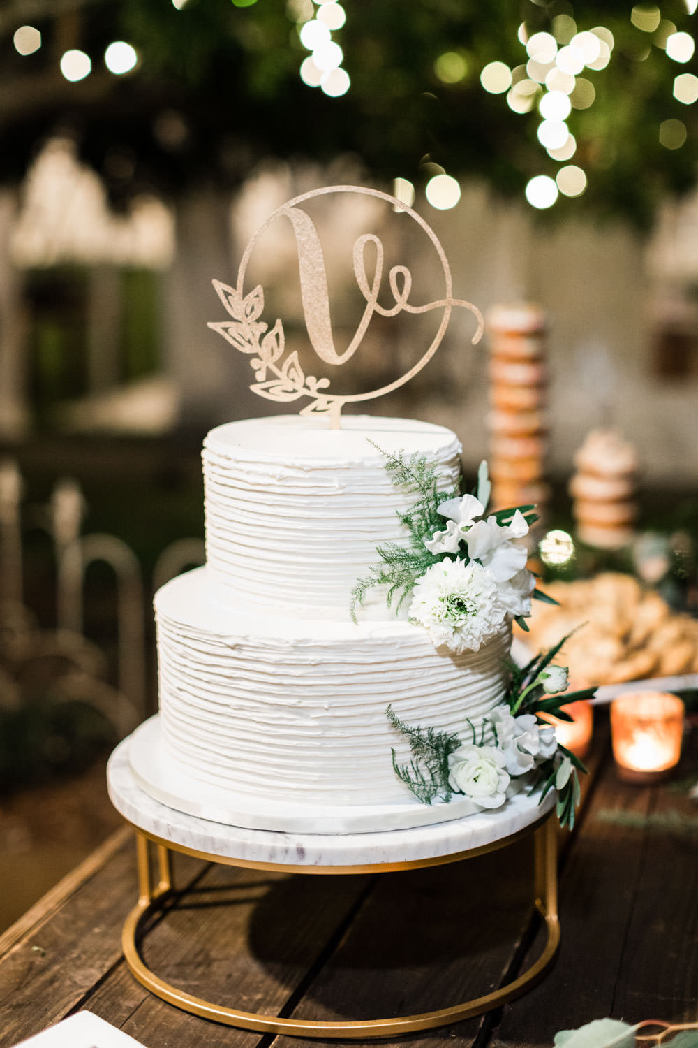 VG Donut white two tier cake, Cavin Elizabeth Photography