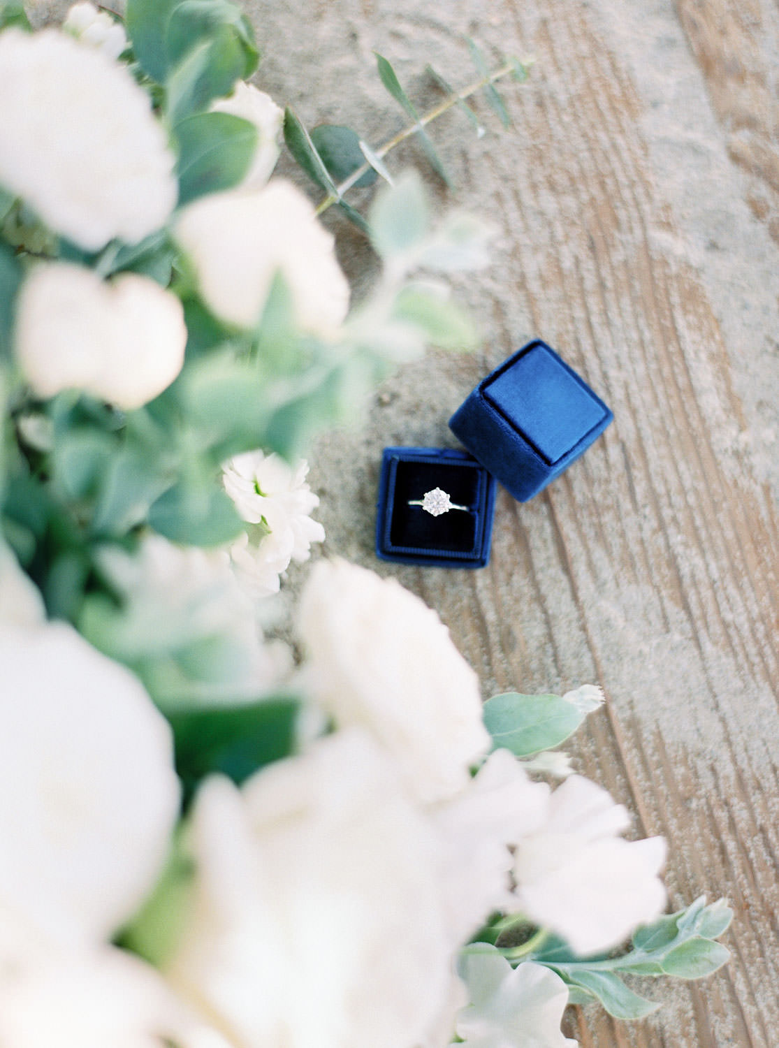 Green and white engagement bouquet, Contax 645 Fuji 400h San Diego wedding film photographer, La Jolla Windansea Engagement Photo of ring in blue Mrs Box, Cavin Elizabeth Photography