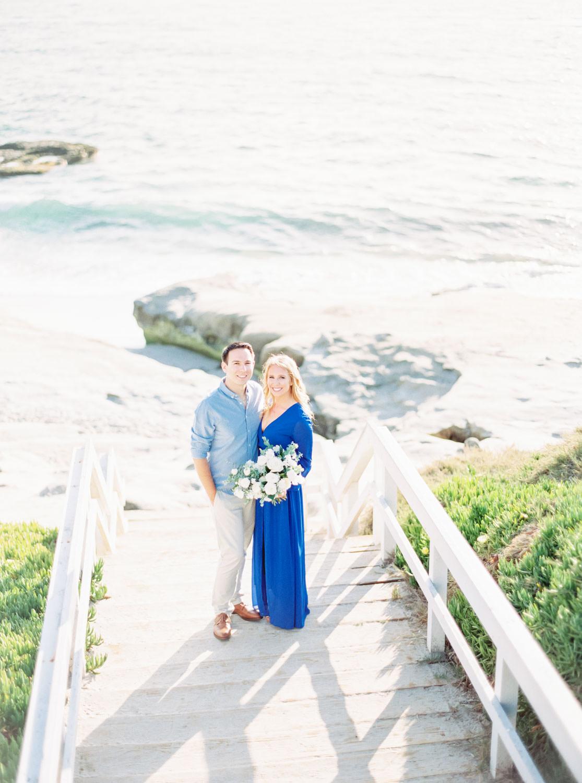 Contax 645 Fuji 400h San Diego wedding film photographer, La Jolla Windansea Engagement Photos with bride in a blue long sleeved flowy dress, Cavin Elizabeth Photography