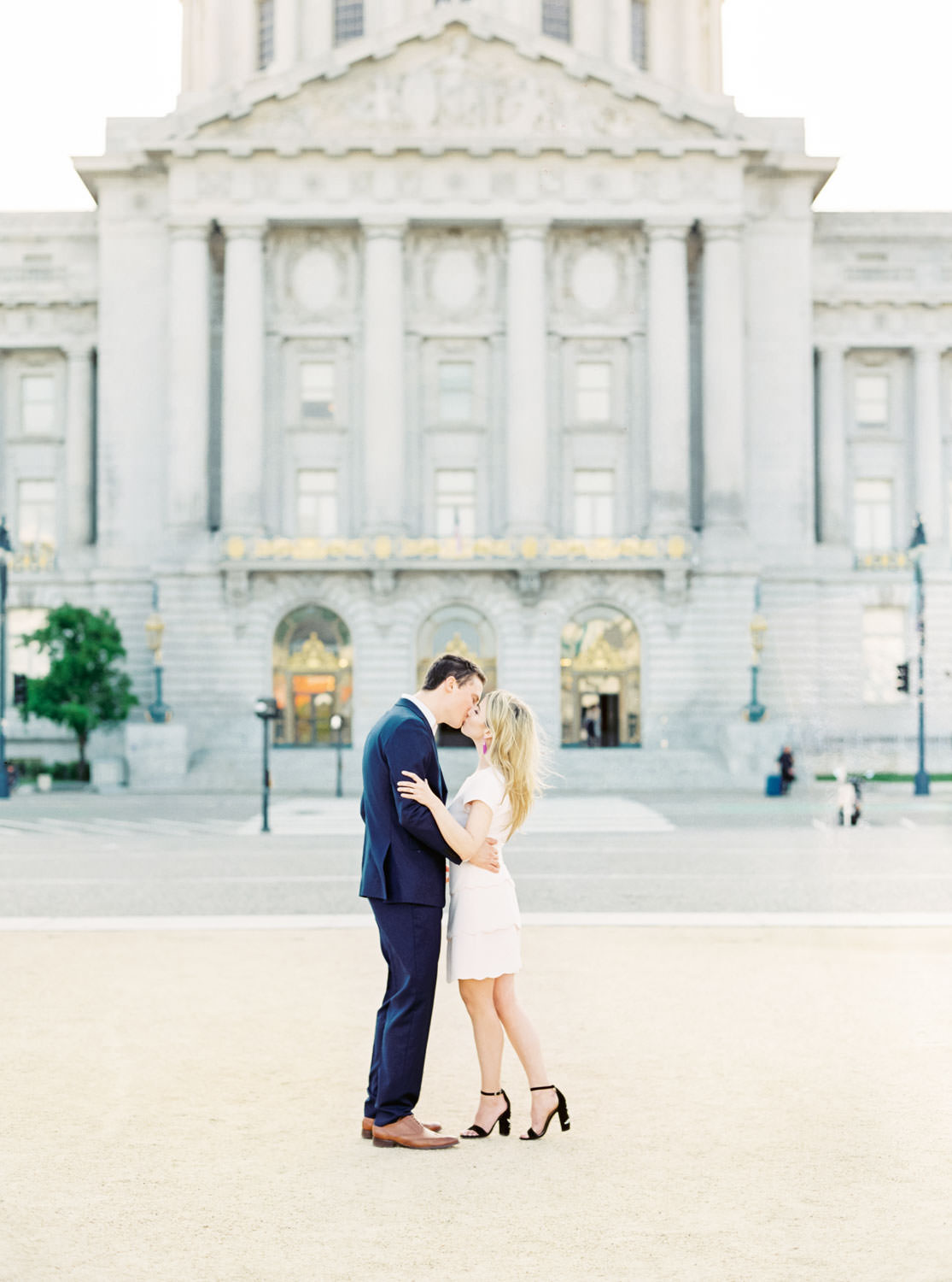 Contax 645 film photo from wedding photographer, bride and groom outside of city hall in blush dress and navy suit for San Francisco City Hall engagement photos, Cavin Elizabeth Photography
