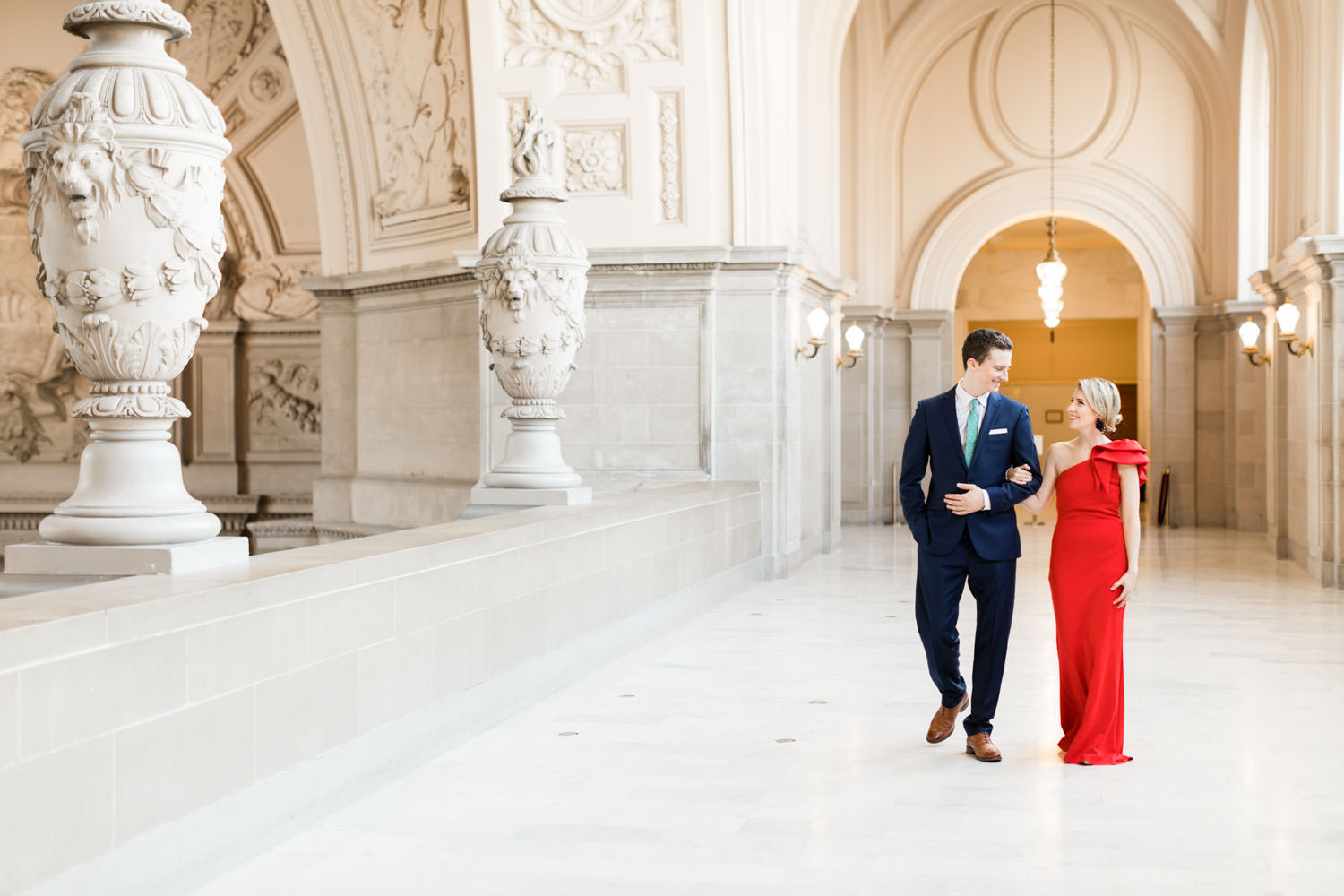 San Francisco City Hall Engagement Photos with red gown, Cavin Elizabeth Photography