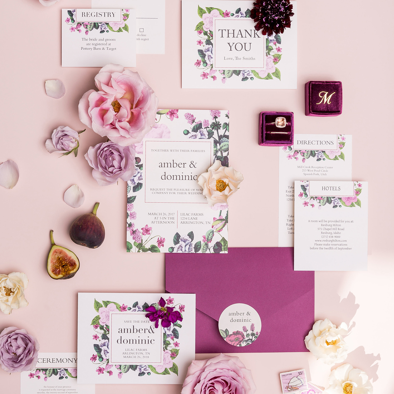 Vintage botanical plum Basic Invite wedding invitation