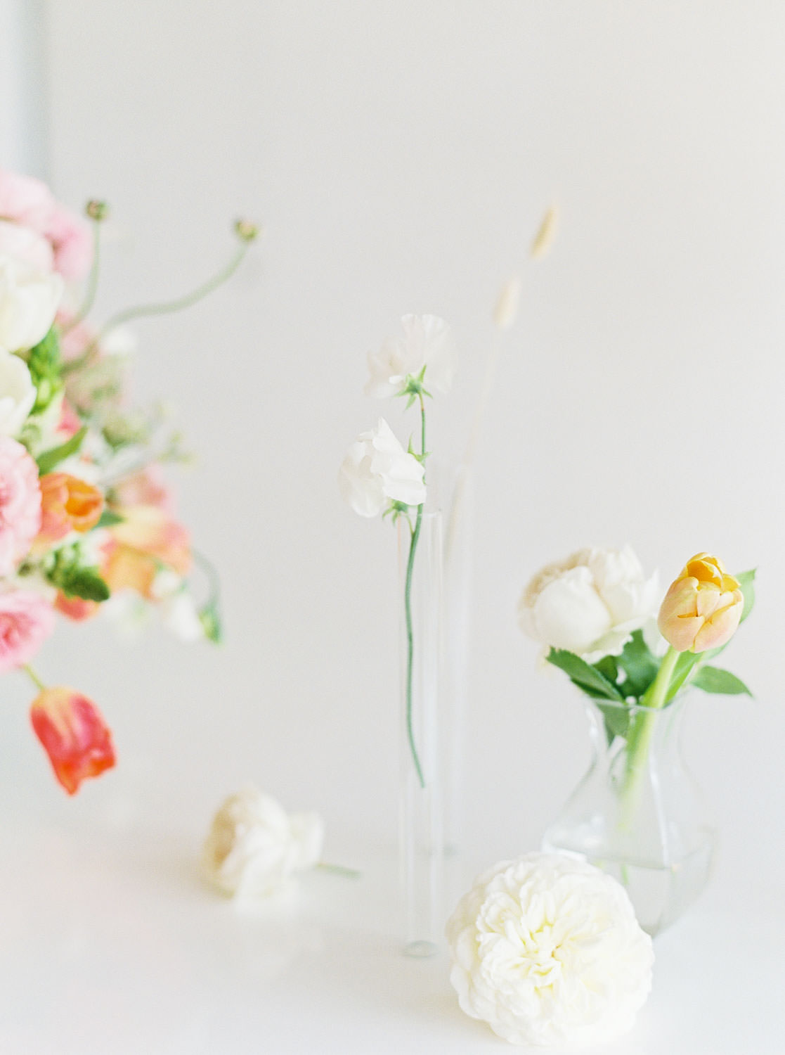 White table with Pink green white peach centerpiece on film, Romantic Colorful Floral Arrangements by Organic Flora, Cavin Elizabeth Photography