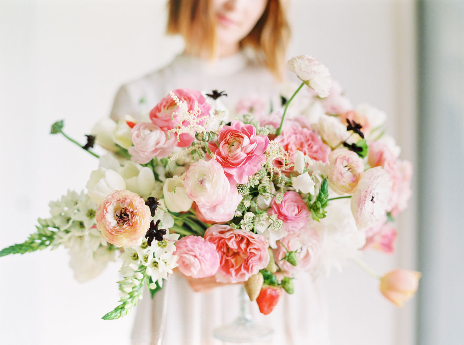Bride holding Pink green white peach centerpiece on film, Romantic Colorful Floral Arrangements by Organic Flora, Cavin Elizabeth Photography
