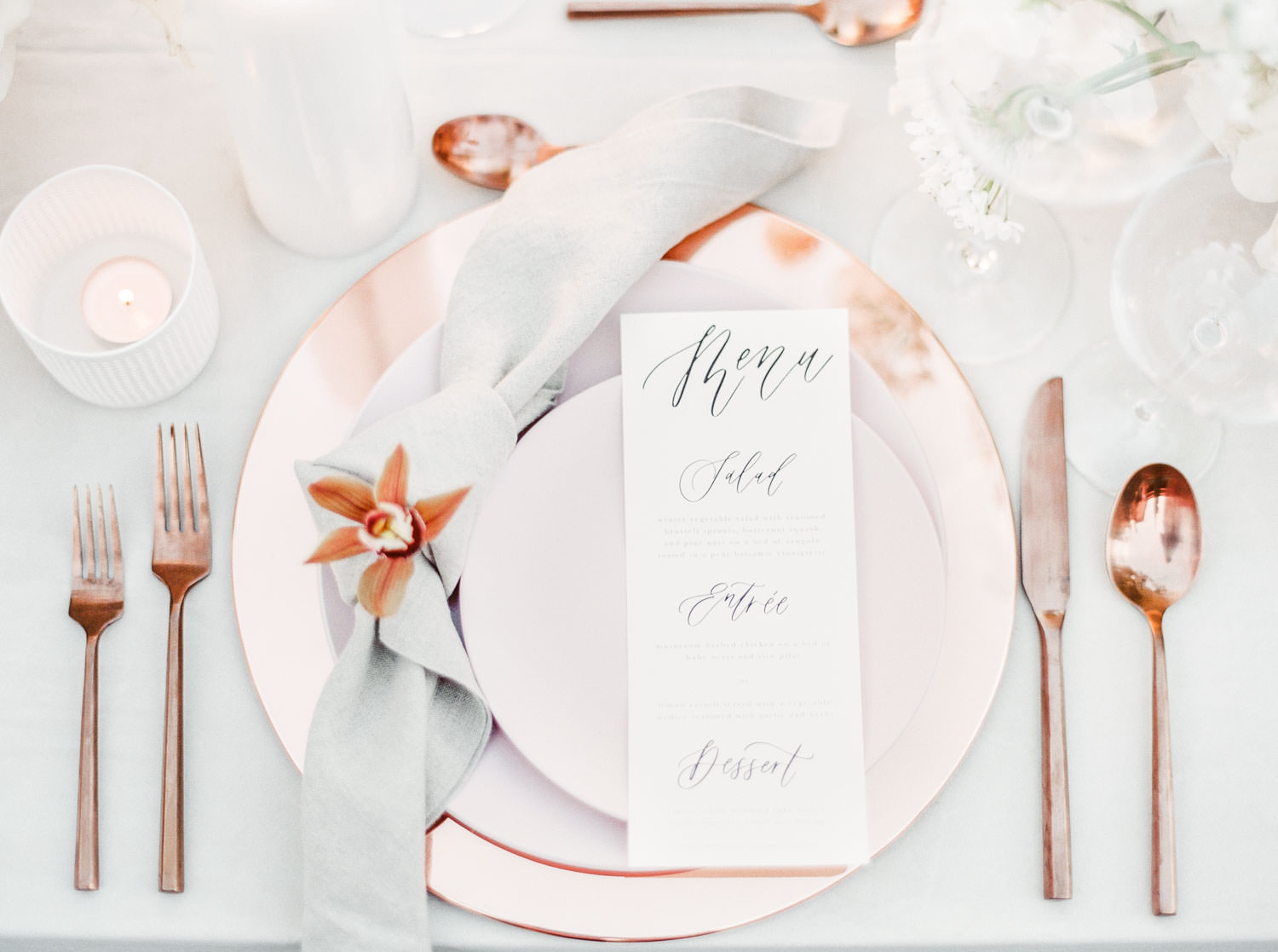 Blush and rose gold metallic place setting fine art wedding reception table, grey full velvet linen and white bentwood chairs, Fairmont Grand Del Mar Wedding by Cavin Elizabeth Photography