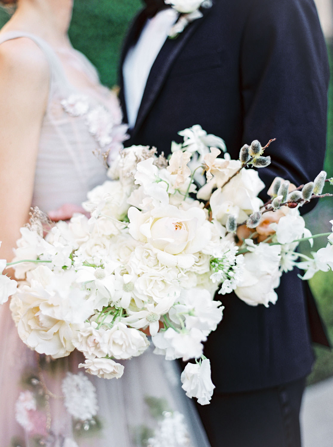 White large bridal bouquet, Bride in a Marchesa blush neutral floral gown, Fairmont Grand Del Mar Wedding by Cavin Elizabeth Photography