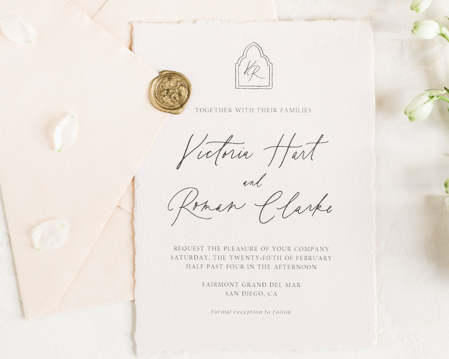 Neutral blush fine art wedding invitation suite, Fairmont Grand Del Mar Wedding by Cavin Elizabeth Photography