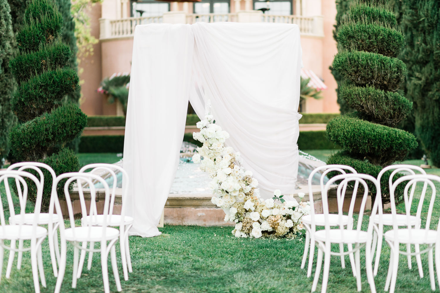 Grand del Mar wedding ceremony on reflection lawn, Cavin Elizabeth Photography