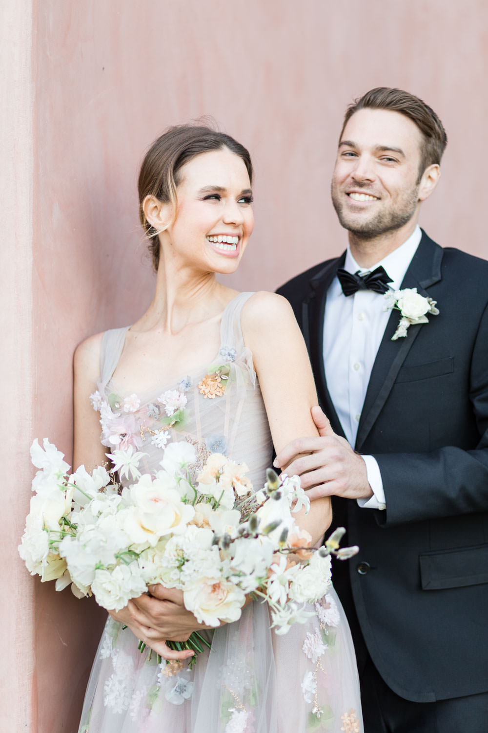 Non-white wedding gown from Marchesa, Bride and groom portrait at the Grand Del Mar, Cavin Elizabeth Photography