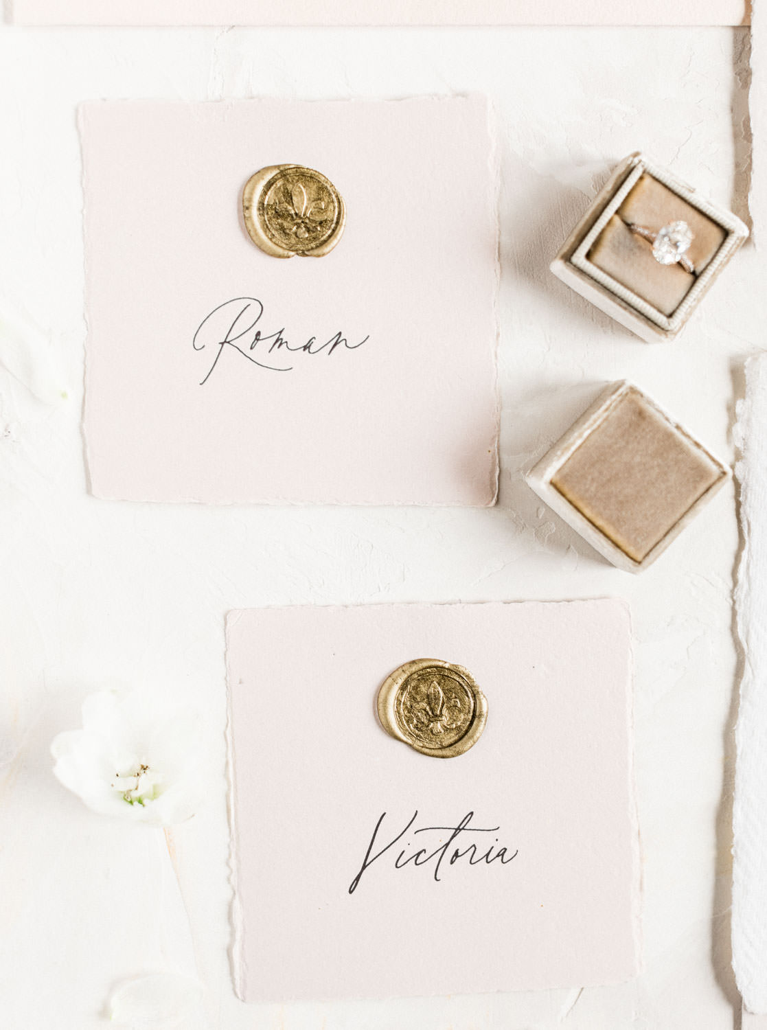 Neutral blush fine art wedding place escort cards with gold wax seal, Fairmont Grand Del Mar Wedding by Cavin Elizabeth Photography