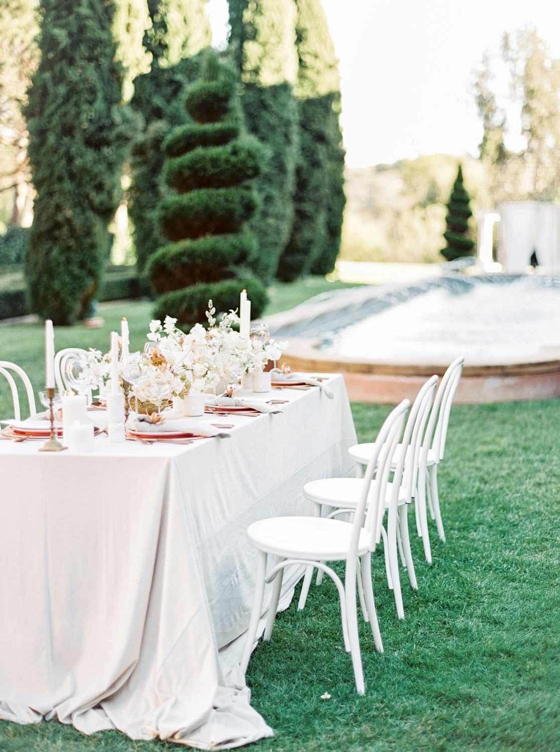 Neutral and metallic fine art wedding reception table, grey full velvet linen and white bentwood chairs, Fairmont Grand Del Mar Wedding by Cavin Elizabeth Photography
