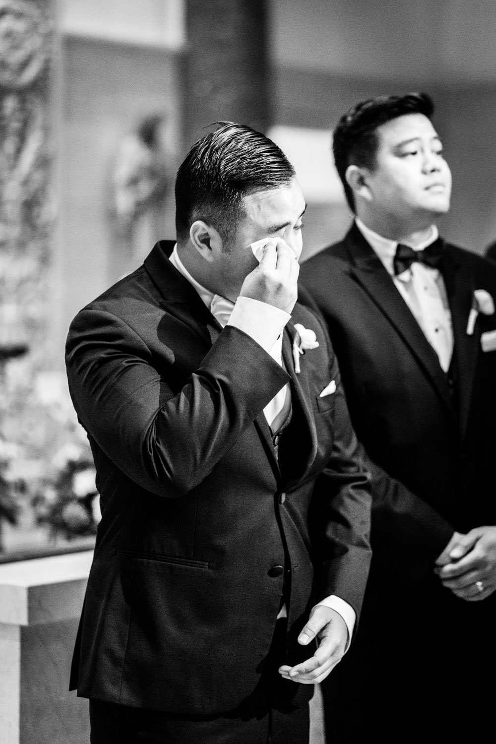 Groom crying when he sees bride walking down the aisle, San Diego Immaculata USD ceremony, Cavin Elizabeth Photography