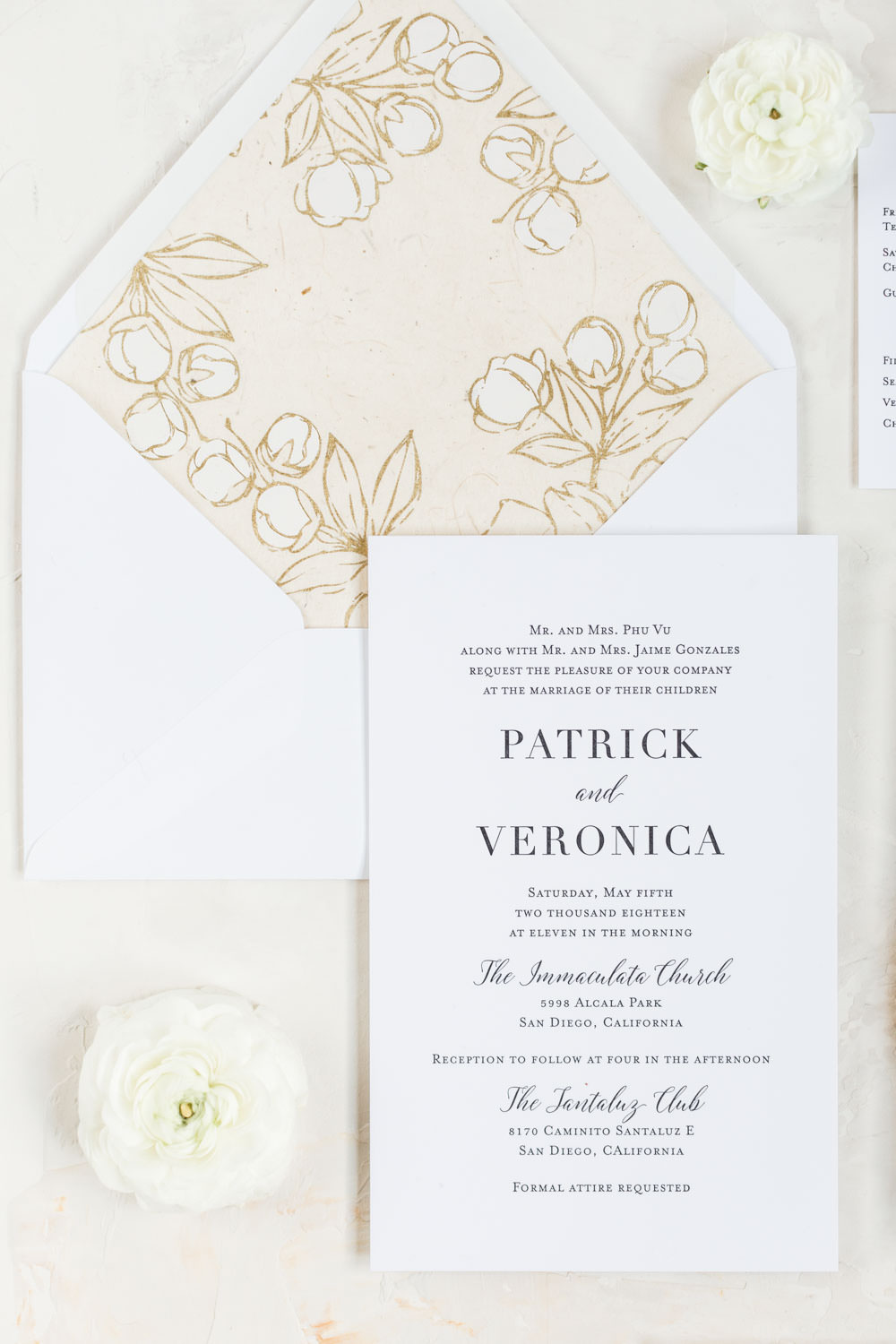 Elegant classic letterpress white invitations with white ink and peach band, Cavin Elizabeth Photography