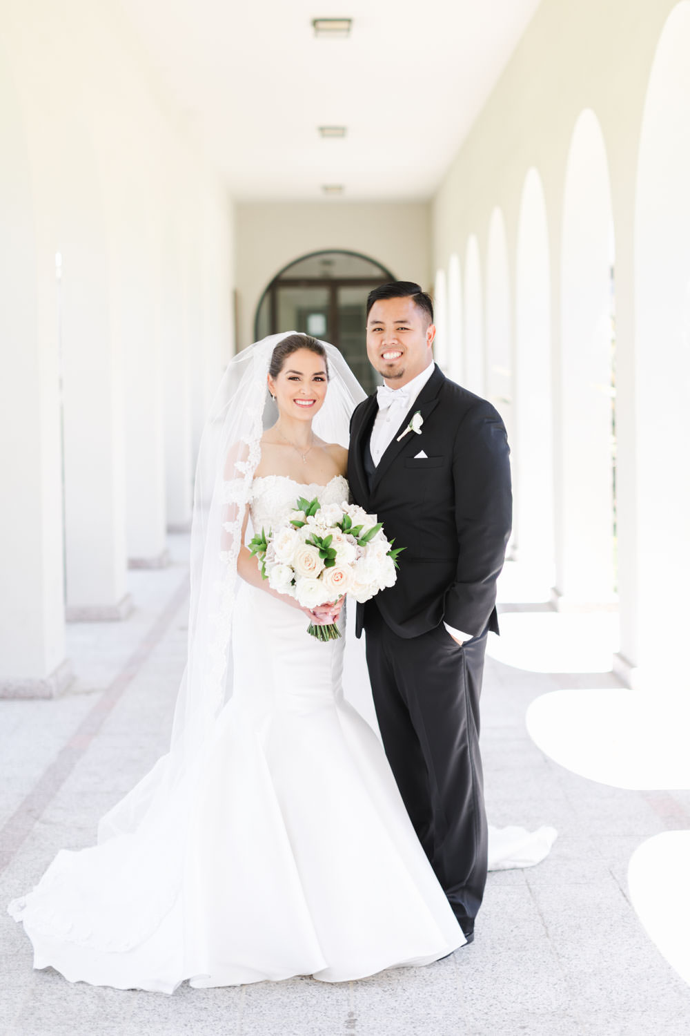 Groom and Bride wearing lace sweetheart neckline, bright and airy san diego wedding portraits, Cavin Elizabeth Photography