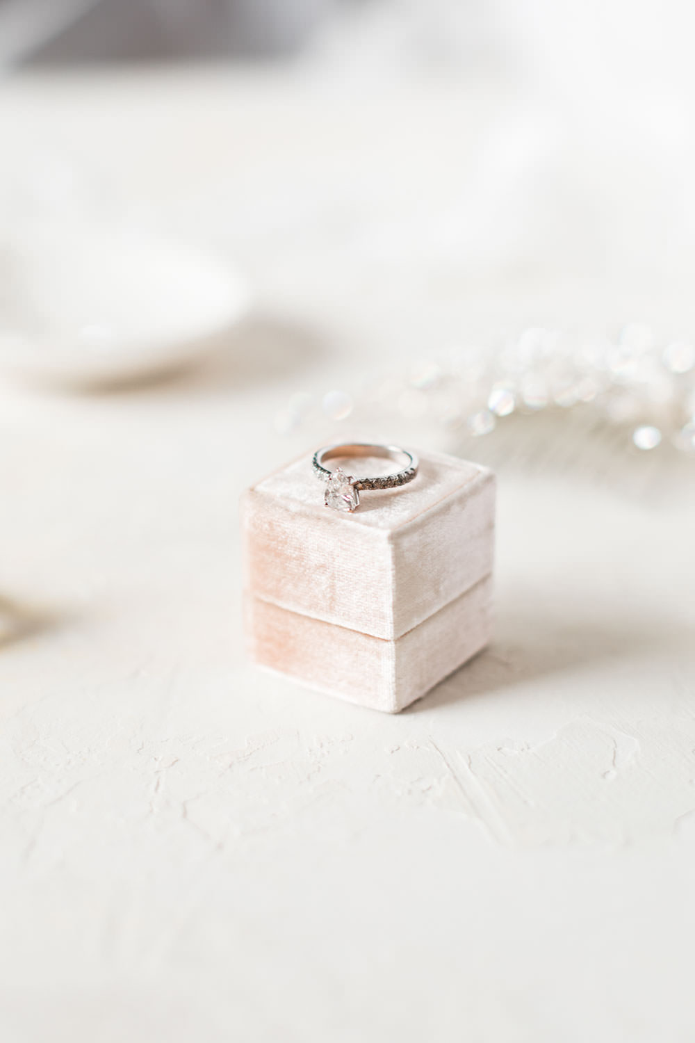 Diamond engagement ring on a pink Mrs Box velvet ring box, Cavin Elizabeth Photography