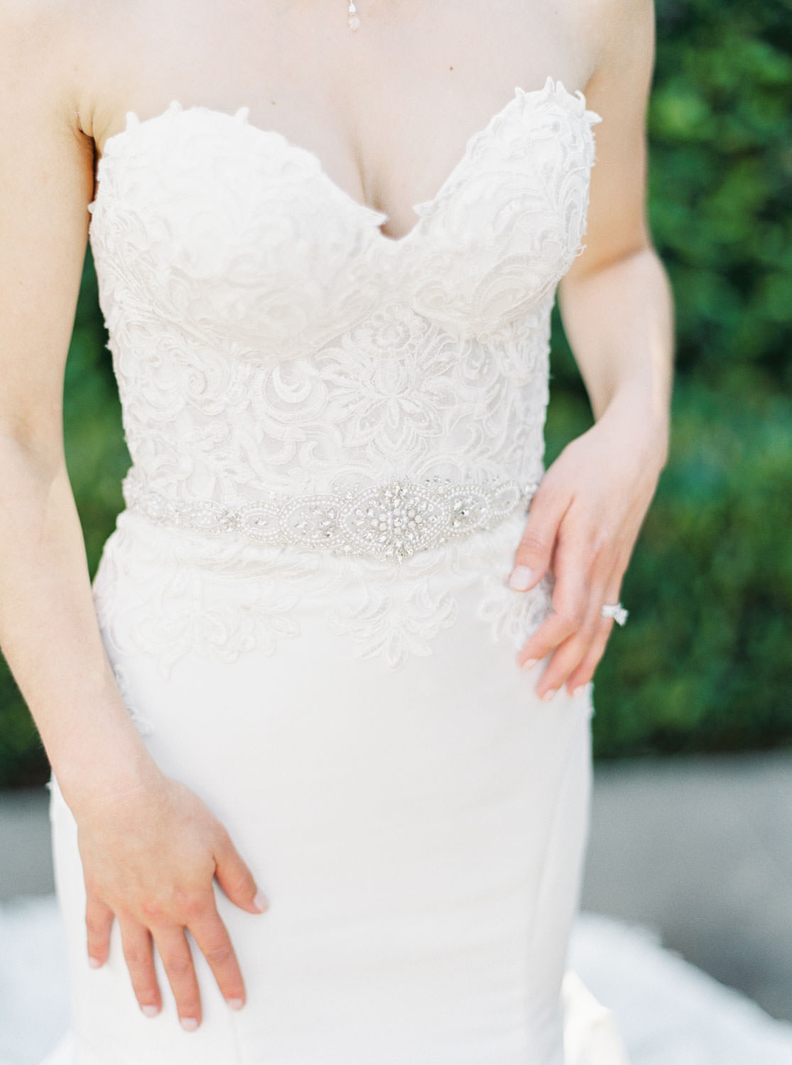 Bridal gown with lace and jewels captured on film, Santalux Club wedding reception, Cavin Elizabeth Photography