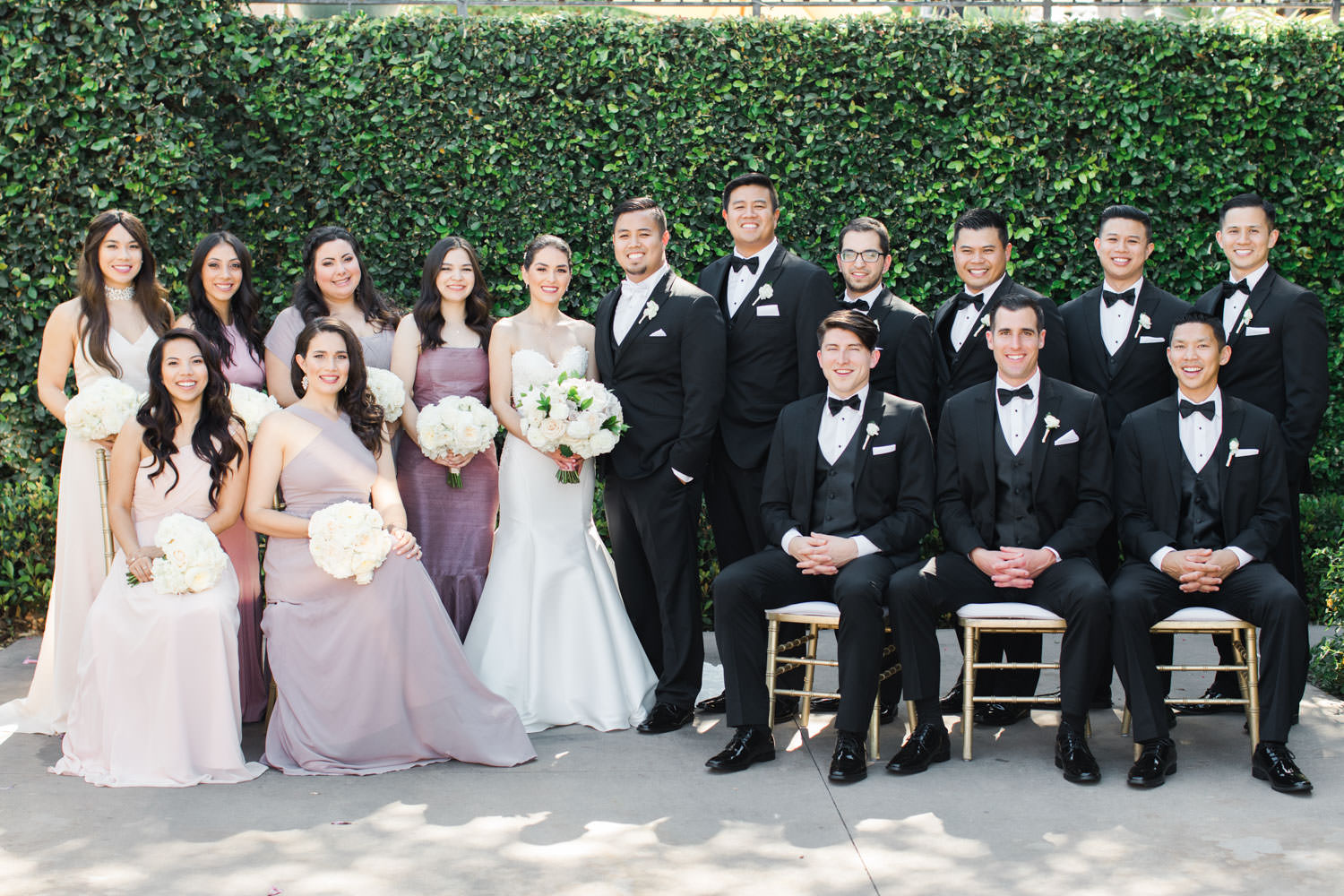 Bridal party portrait with chairs, Santalux Club wedding reception, Cavin Elizabeth Photography